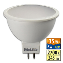LED Lampe 5 W, GU5.3, 2700 K, MR16, CRI 80, Abstrahlwinkel 100 °, ф use 345 lm, PF 0,59, 706 mA