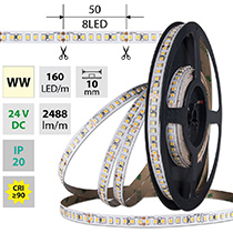 LED Streifen SMD2835 WW, 160LED/m, 19,2W/m, DC 24V, 2488lm/m, CRI90, IP20, 10mm